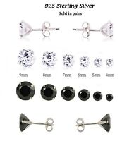 925 Sterling Silver Round CZ Claw Set Stud Earrings 4 5 6 7 8 9 mm Clear / Black