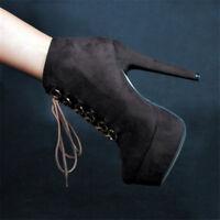 Women Lace up Platform Suede High Heels Ankle Boots Stilettos Shoes Plus Size