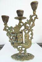 Candelabro judío antiguo, con Moisés y aseret ha dibrot