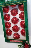 Vintage Christmas Ornaments Mercury Glass Balls Red made in USA 13 in Box