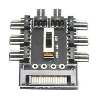 Splitter Cooling Fan Hub PC SATA 1 to 8 3Pin 12V Power Socket PCB Adapter
