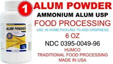 HUMCO ALUM POWDER 6 oz AMMONIUM ALUM USP FOOD GRADE PROCESSING exp 10/2022 USA