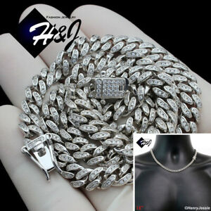"""18""""MEN 925 STERLING SILVER 6MM BLING ICY DIAMOND MIAMI CUBAN CHAIN NECKLACE*SN19"""