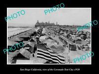 OLD LARGE HISTORIC PHOTO OF SAN DIEGO CALIFORNIA, THE CORONADO TENT CITY c1920