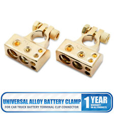2pcs Universal Alloy Car Truck Battery Terminal Clamp Clip Connector Cover Gold
