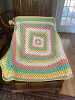 Crochet Afghan Blanket Throw New Peach Mint Green Yellow White Baby Blanket
