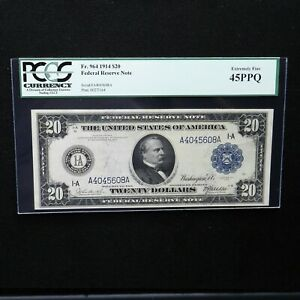 1914  $20 Federal Reserve Note Boston, Fr # 964, PCGS 45 PPQ Extremely Fine