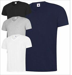 Men's Classic V-Neck T-shirt Soft 100% Cotton Casual Leisure Plain Tee T Shirt