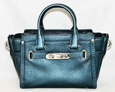 COACH 35990 Mini Swagger Convertible Satchel Crossbody Metallic Blue Leather