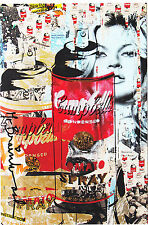 New Mr Brainwash Kate Moss Andy Warhol Spray postcard print pop art banksy Mint