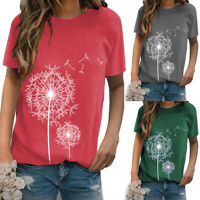 Women Summer Short Sleeve Blouse Dandelion Print T Shirt Casual Loose Tunic Tops