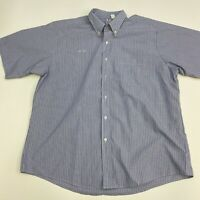 Vintage Flying Cross Button Up Shirt Mens 18 Blue Stripe Short Sleeve Casual