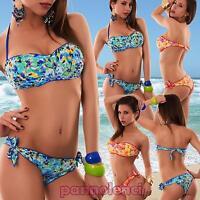 Bikini donna costume da bagno mare fascia floreale due pezzi ricamo nuovo C206