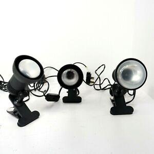 3x Small Clip On Swivel Lamp Reading Work Tilt 15cm Light Working Black B3