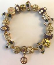 ❤️European CHARM BEADS Bracelet ~ Gold Plated Chain & Gold Purple Murano Beads❤️