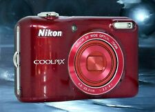 NIKON L28 RED-MECHANICALLY RECONDITIONED-HELPS REDUCE CAMERA HAND SHAKE