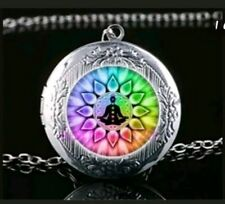 Flower of life buddha locket sacred geometry necklace pendant chakra  lotus