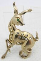 VTG Gold Tone Green Clear Rhinestone Deer Pin Brooch