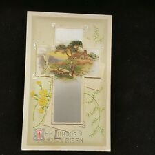 Vintage Germany The Lord Is Risen Easter Postcard Flip Up Message Cross