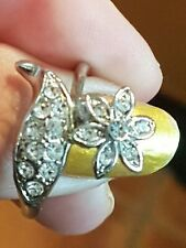 Silver Plated Flower Crystal Ring Size U