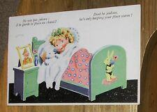 Vtg French War Cartoon Postcard by Janser Girl in Bed w Teddy Bear Soldier Pic