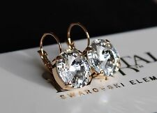 Rose Gold Plated Clear Rivoli Leverback Earrings made Swarovski Crystal Elements