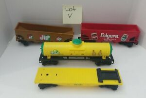 4 K-Line Train Cars Folgers Jif  Sunny Delight NOT COMPLETE CARS Vintage