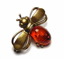 REAL BALTIC AMBER INLAY COGNAC COLOR BEE FLY BROOCH BRONZE BRASS FRAME