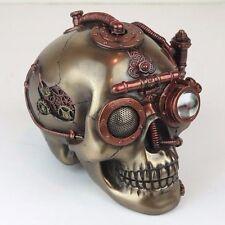 """Steampunk Skull w/ Secret Drawer Trinket Box Bronze Figurine Miniature 6.5""""L New"""