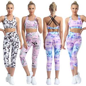 Women's Yoga Sportswear U Neck Straps Cross Open Back Sport Bra Tops Pants Sets
