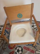 Vtg Wooden Child Toddler Toilet Potty Training Chair Seat Foldable pre-owned