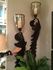 "PAIR 52"" BRONZE METAL LEAF GLASS CUP WALL SCONCE CANDLE HOLDER VINTAGE TUSCAN"