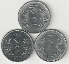 3 DIFFERENT 2 RUPEE COINS from INDIA - ALL 2013 with MINT MARKS of B, C & N