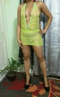 Lace Mini Dress Women's Short Micro See Through Ladies Lime Short Party  522