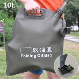 Olive Foldable 10L Gas Fuel Bladder Bag Oil Tank Jerry Can Motorcycle Car ATV 1x