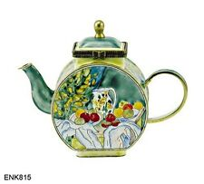 KELVIN CHEN Enamel Copper Hand painted  Mini miniature Teapot- Curtain Cezanne