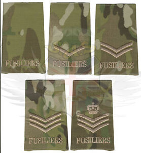 BRITISH ARMY MULTICAM RIPSTOP FUSILIERS RANK SLIDE,LANCE,CORPORAL,SERGEANT,CSgt