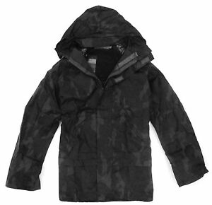 GENTS WATERPROOF WINDPROOF BLACK CAMO JACKET Mens sizes night hunting hood coat