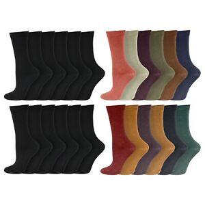 Ladies 12 Pairs Extra Fine Knit Warm LIGHTWEIGHT Thermal Socks UK 4-8 Black/Asst