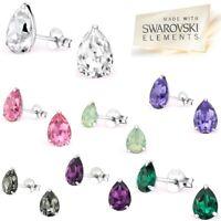 LA CRYSTALE 925 Sterling Silver Pear Drop Stud Earrings SWAROVSKI® Elements Tear