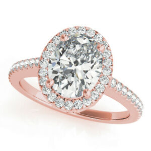 Beautiful Oval Cut 1.80 Ct Diamond Wedding Ring 14K Solid Rose Gold Size 6 7 8.5