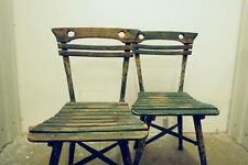 ein Paar antik Jugendstil Gartenstuhl Stuhl Sessel aus Holz Landhaus shabby chic