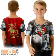 Medieval Knight T-Shirt Boys Fancy Dress Crusader Book Day Week Kids Costume Top