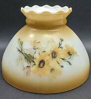"Vintage Lamp Shade Yellow Daisy's GWTW Light Hurricane Oil Glass Globe 8"" Fitter"