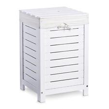 Edle Wäschetruhe Weiß Wäschekorb Wäsche Truhe Wäschebox Holz mit Wäschesack Sack