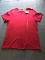 Basic Edition Womens Relaxed Fit Size Small Cotton Short Sleeve Red Top New
