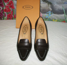 TOD'S Brown Leather DEBBIE Penny Loafer Pumps Heels sz 8