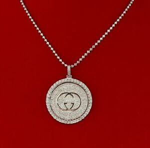 10K White Gold Finish with Real 0.33ct Diamond Silver Pendant