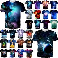 Nebula Galaxy Planet 3D Printed Women Men Crew Graphics T-Shirts Casual Tee Tops