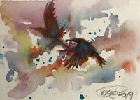 ACEO Crow Art Ravens painting birds Original card artwork Listed By Artist USA